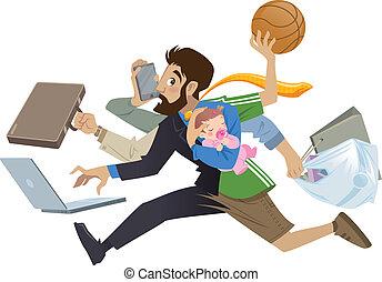 velen, fantastisch, werkende, spotprent, man, multitask, vader, werken