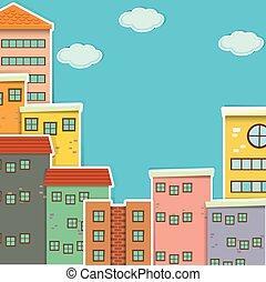 velen, gebouwen, op, dag