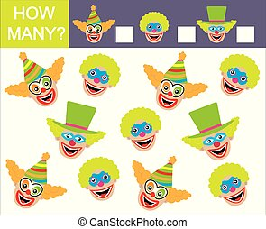 velen, getallen, hoe, spel, mathematics., leren, gezichten, children., clowns.