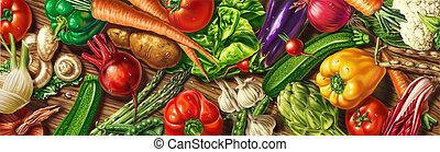 velen, groentes, het leggen, op, een, tafel