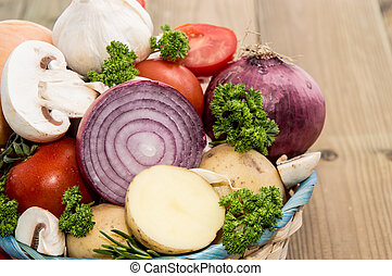 velen, groentes, in, een, mand