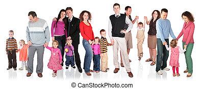 velen, groep, vrijstaand, gezin, kinderen