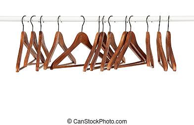 velen, houten, hangers, op, een, staaf