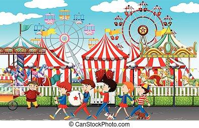 velen, kinderen, op, de, carnaval