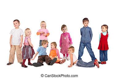 velen, kinderen, op wit, collage