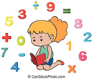 velen, klein meisje, getallen