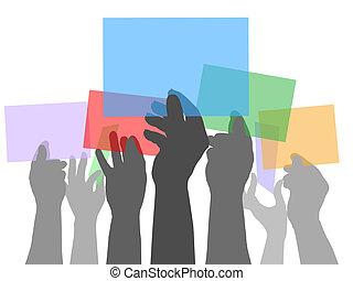 velen, mensen, handen, vasthouden, kleur, ruimtes