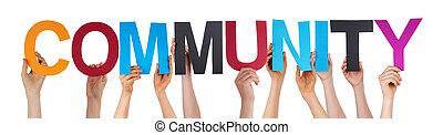 velen, mensen, houden, kleurrijke, recht, woord, gemeenschap