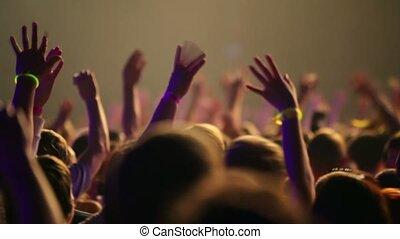 velen, mensen, op, rave, feestje, bekijk van achter