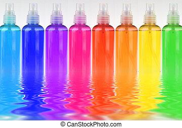 velen, roeien, flessen, gekleurde, schoonheidsmiddelen