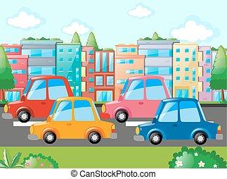 velen, scène, straat, auto's