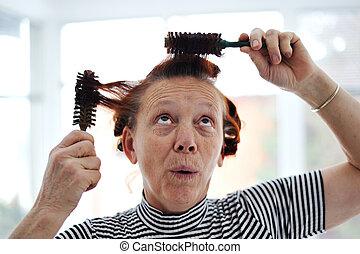 velen, senior, kam, dame, hairdressing