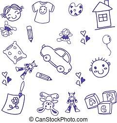 velen, speelbal, geitjes, doodle, kunst
