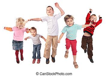 velen, springt, kinderen, op wit