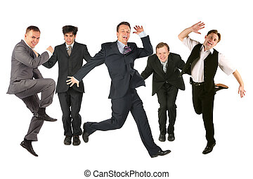 velen, springt, mannen, op, de, witte