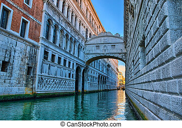 velence, -, bridzs of sóhaj, ponte dei sospiri, olaszország, hdr