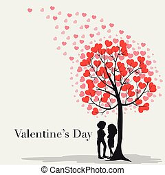 Velentine card template with hearts on the tree