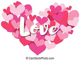 Velentine card template with word love on heart shapes