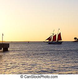 velero, encima, vela, florida, oeste, océano, ocaso, llave, ...