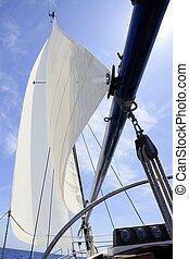 velero, navegación, azul, mar, en, soleado, día de verano