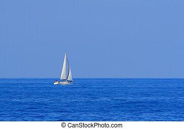 velero, navegación, el, océano