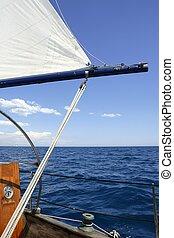 velero, vendimia, navegación, azul, mar, océano