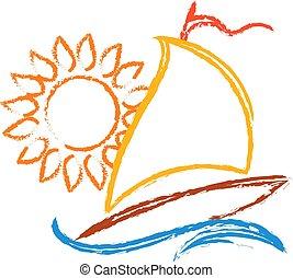 velero, y, sol, símbolo