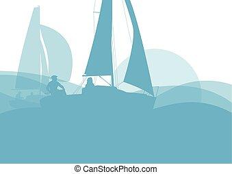 velero, yate, en, salida del sol, vector, plano de fondo,...
