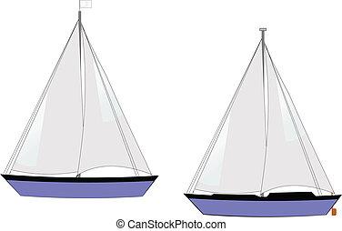 veleros, blanco, vector