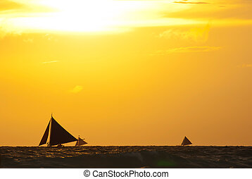 veleros, ocaso, mar, debajo