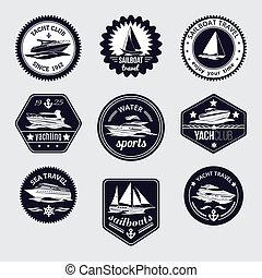 veleros, viaje, etiquetas, conjunto, iconos