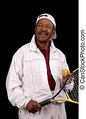 velho, jogador tênis, americano, macho africano