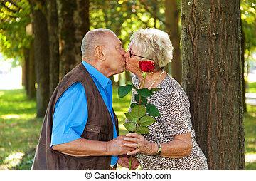 velho, par ancião, em, love.