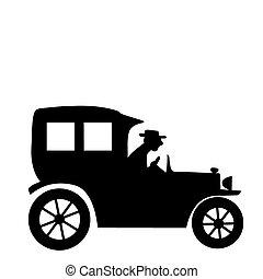 velho-tempo, silueta, car, vetorial, fundo, branca