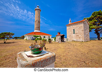 Veli Rat lighthouse and chapel view, Dugi Otok island, Dalmatia, Croatia