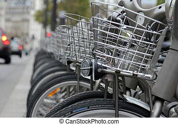 velib, bucycles, rang