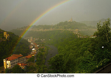 Veliko Tarnovo viewed from Tsarevets fortress, Bulgaria