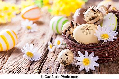velikonoční obalit v rozšlehaných vejcích, dále, dřevo