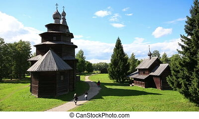 Veliky Novgorod - museum of old russian wooden architecture - timelapse