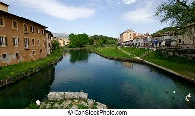Velino river - Ancient roman bridge ruins in the Velino...