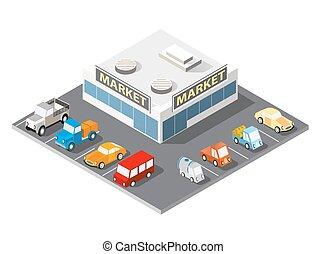 velký, nakupování, supermarket