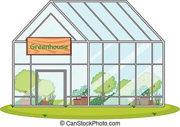 velký, skleník, s, nechat na holičkách