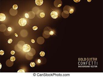 velký, zlatý, třpytit se, konfety