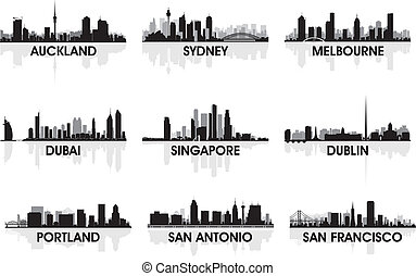 velkoměsto městská silueta