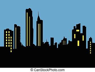 velkoměsto městská silueta, krajina, večer