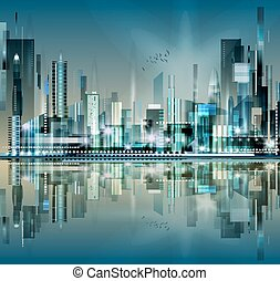 velkoměsto městská silueta, moderní, večer