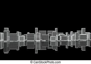 velkoměsto městská silueta, pobřežní, večer
