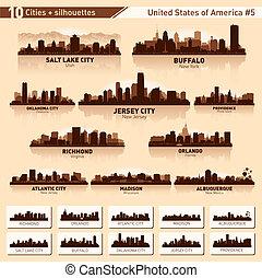 velkoměsto městská silueta, set., 10, město, silhouettes, o, usa, #5