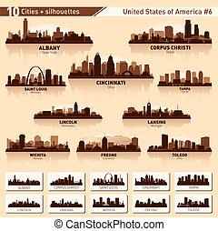 velkoměsto městská silueta, set., 10, město, silhouettes, o, usa, #6