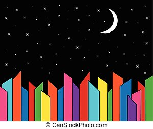 velkoměsto městská silueta, večer